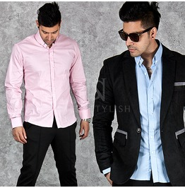 Button Collar Accent Slim Shirts 137
