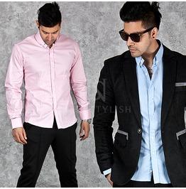 Button Collar Accent Slim Shirts 137