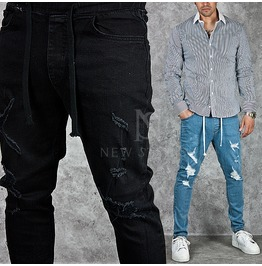 Distressed Drawcord Slim Jeans 222