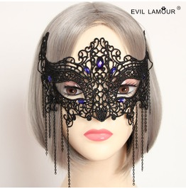 Handmade Black Lace Purple Jewelry Gothic Mask Mk 7