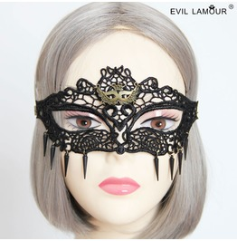 Handmade Black Lace Fox Head Gothic Mask Mk 8