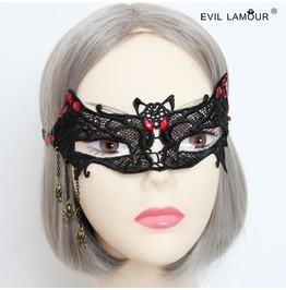 Handmade Black Lace Bat Vampire Gothic Mask Mk 10
