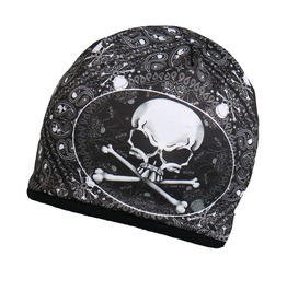 Biker New Black Skull & Crossbones Beanie Knit Cap