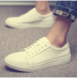 Summer Men's Shoes Couple Shoes Breathable Leather Lace Casual Shoes