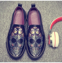 Men's Fashion Casual Shoes Skull Printed Canvas Shoes Pedal Sports Shoes