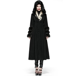 Punk Rave Gothic Women's Hooded Overcoat Black Ly 036