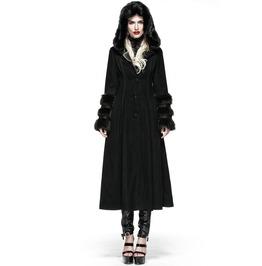 Punk Rave Gothic Women's Hooded Overcoat Black Ly 036