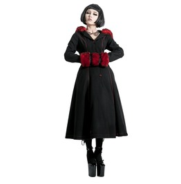 Punk Rave Gothic Women's Hooded Overcoat Red Ly 036
