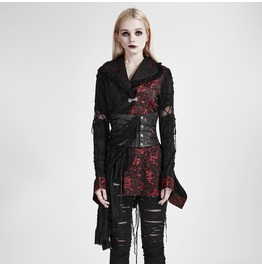 Punk Rave Gothic Embroidered Kimono Coat With Girdle Q 093
