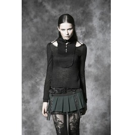 Punk Rave Gothic Straps Pleated Skirt With Belt Green Q 220