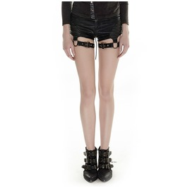 Punk Rave Women's Punk Lace Up Straps Faux Leather Shorts K 248