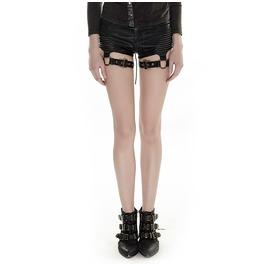 Punk Rave Women's Punk Lace Up Straps Faux Leather Shorts K 248
