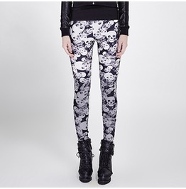 Punk Rave Women's Punk Skull Printed Leggings Black K 259