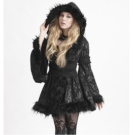 Punk Rave Women's Lolita Faux Leater Hooded Coat Ly 072