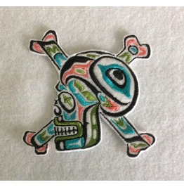 Embroidered Tribal Indian Head Skull And Crossbones Patch Sew On Pink/Gren