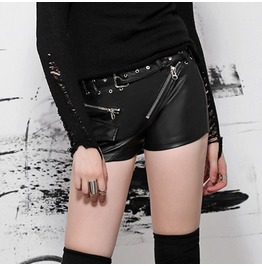 Punk Rave Women's Punk Zipper Faux Leather Shorts With Belt Pk 053