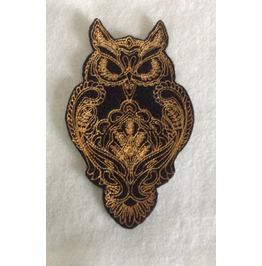 Embroidered Ornate Owl Patch Iron/Sew On Style Black And Gold
