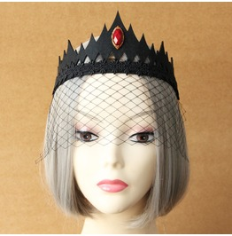 Handmade Black Crown Red Jewelry Gothic Hair Accessories Mj 27