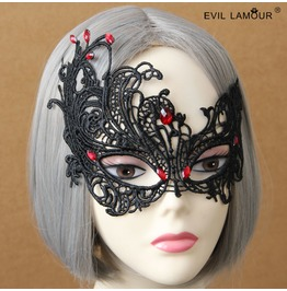 Handmade Halloween Black Lace Red Jewelry Gothic Mask Mk 14
