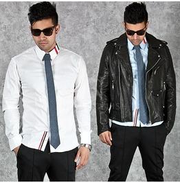Stripe Collar Accent Slim Shirts 138