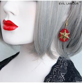 Handmade Red Mental Star Gothic Earring Eh 07