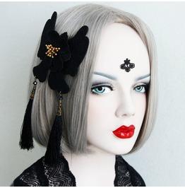 Handmade Black Lace Long Tassels Gothic Hair Accessories Hr 2
