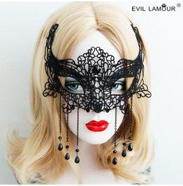 Handmade Black Lace Long Tassels Gtohic Mask Mk 16
