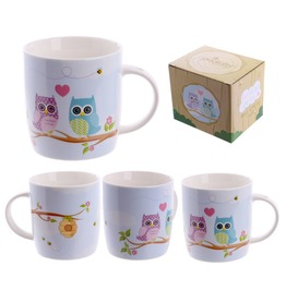 Egg N Chips London Cute New Bone China Love Owls Design Mug
