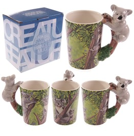 Egg N Chips London Novelty Ceramic Jungle Mug With Koala Shaped Handle
