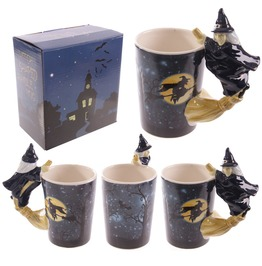 Egg N Chips London Novelty Witch Mug With Witch On Broomstick Handle