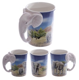Egg N Chips London Ceramic Safari Printed Mug With Elephant Head Handle