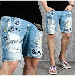 Mutiple Printing Accent Distressed Denim Shorts 67
