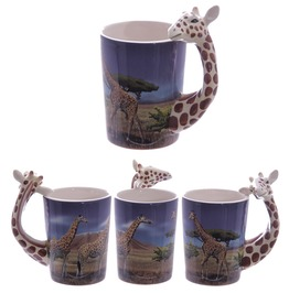 Egg N Chips London Ceramic Safari Printed Mug With Giraffe Head Handle