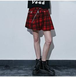 Punk Rave Women's Zipper Mini Pleated Skirt Red Q 266