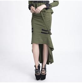 Punk Rave Gothic High/Low Fishtail Skirt Green Q 276
