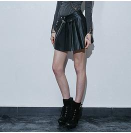 Punk Rave Women's Zipper Mini Pleated Skirt Black Q 266