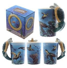 Egg N Chips London Fun Underwater Design Shaped Handle Turtle Mug