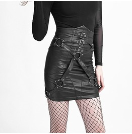 Punk Rave High Waisted Faux Leather Straps Skirt Q 270
