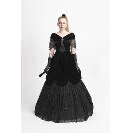 Punk Rave Gothic Lace Multilayer Velvet Party Dress Black Q 273