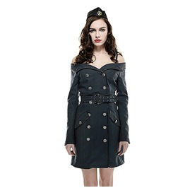 Military Off The Shoulder Double Breasted Coat/Dress With Belt Q 282