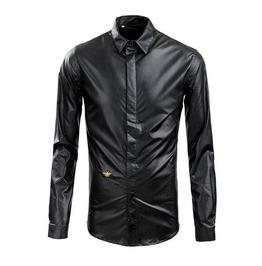 Mens Pu Leather Dress Shirt
