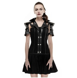 Punk Rave Women's I Shaped Rivets Faux Leather Pleated Dress Black Q 288