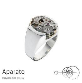 Smooth Silver Steampunk Ring Upcycled Jewelry With Timepiece