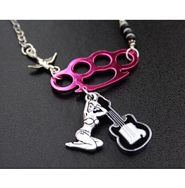Pink Knuckles Pin Up Girl Necklace
