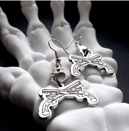 Dueling Guns N Hand Cuff Earrings