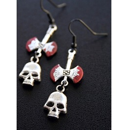 Silver Skulls And Bloody Axes Earrings