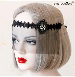 Handmade Black Lace Wheel Gear Gothic Mask Mk 18
