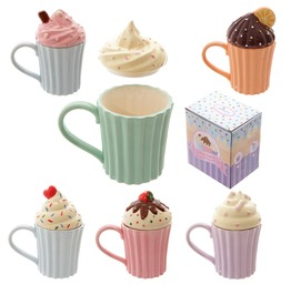Egg N Chips London Fun Ceramic Cute Cupcake Mug With Lid