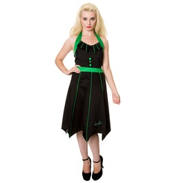 Women,S Vampire Bat Black Green Goth Dress