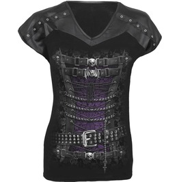 Women Brand Waisted Corset Skulls Bats Leather Look Studed Top Black